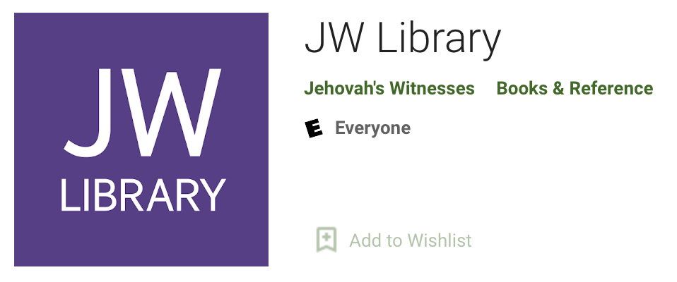 JW Library application mobile dans le Play Store
